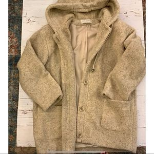 Sandro vintage  Oatmeal hooded teddy bear coat